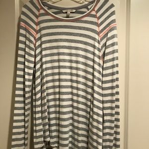 Gray & white striped long sleeve top